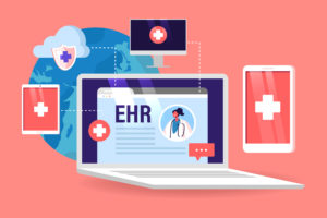 Ehr, Electronic Health Record Concept. Innovative Technologies in Health Care and Medicine, Online Report from Patients to Doctors via Digital Devices. Laptop with Info. Cartoon Vector Illustration